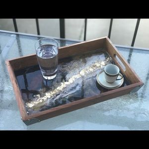 Hand painted epoxy resin wood tray